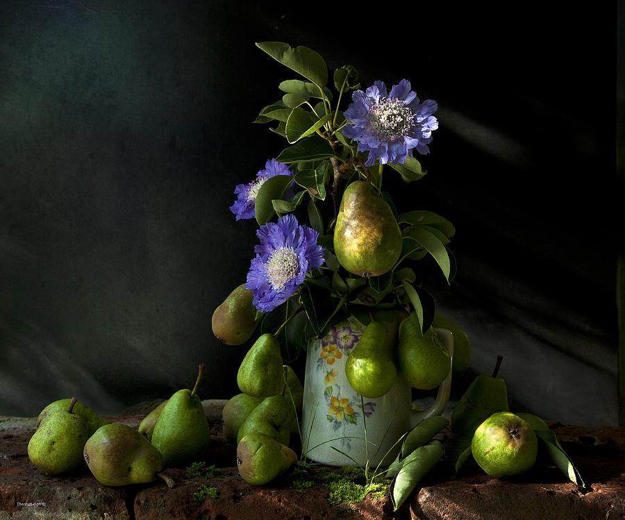 Chiaroscuro Photograph - Poires Et Fleurs by Theresa Tahara