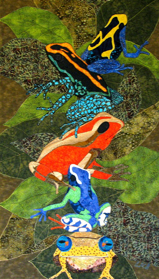 Jungle Tapestries - Textiles Tapestry - Textile - Poison Dart Frogs by Lynda K Boardman