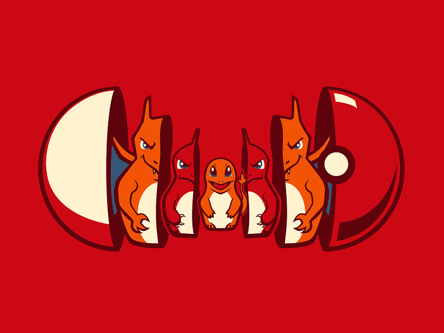 Pokemon Digital Art - Poketryoshka - Fire Type by Michael Myers