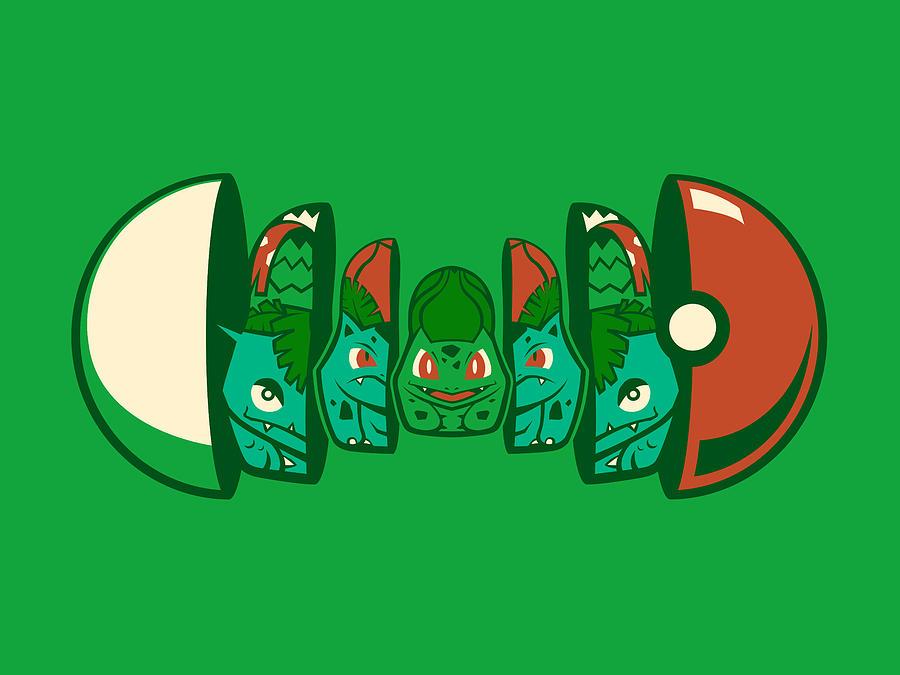 Pokemon Digital Art - Poketryoshka - Grass Type by Michael Myers