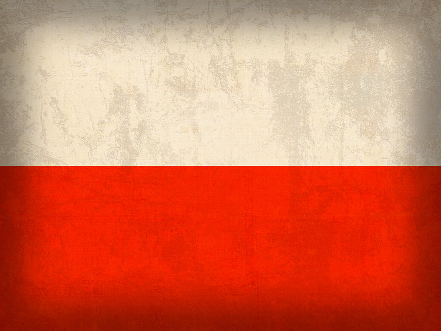 Poland Flag Distressed Vintage Finish Mixed Media By