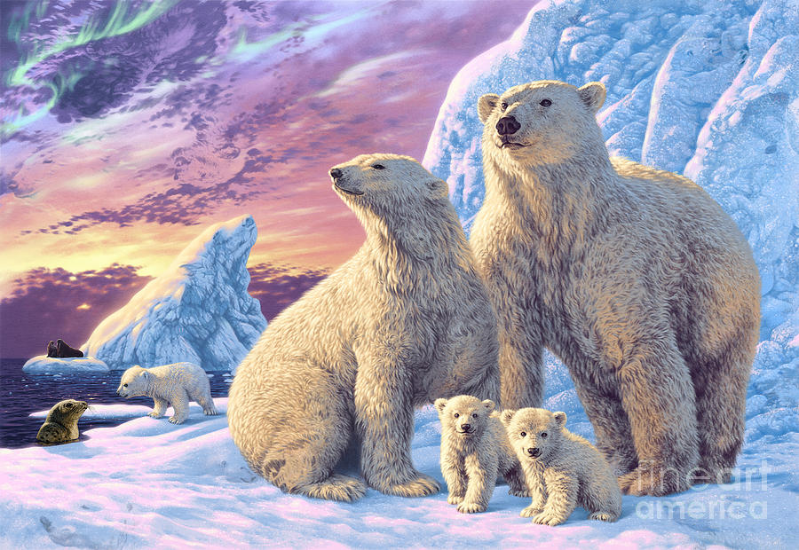 Polar Bear Family is a piece of digital artwork by Steve Read which ...Acrylic Paintings Sunset