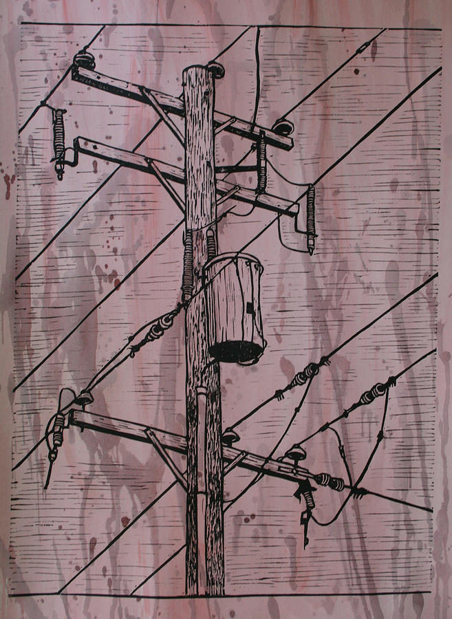 Lino Drawing - Pole With Transformer by William Cauthern