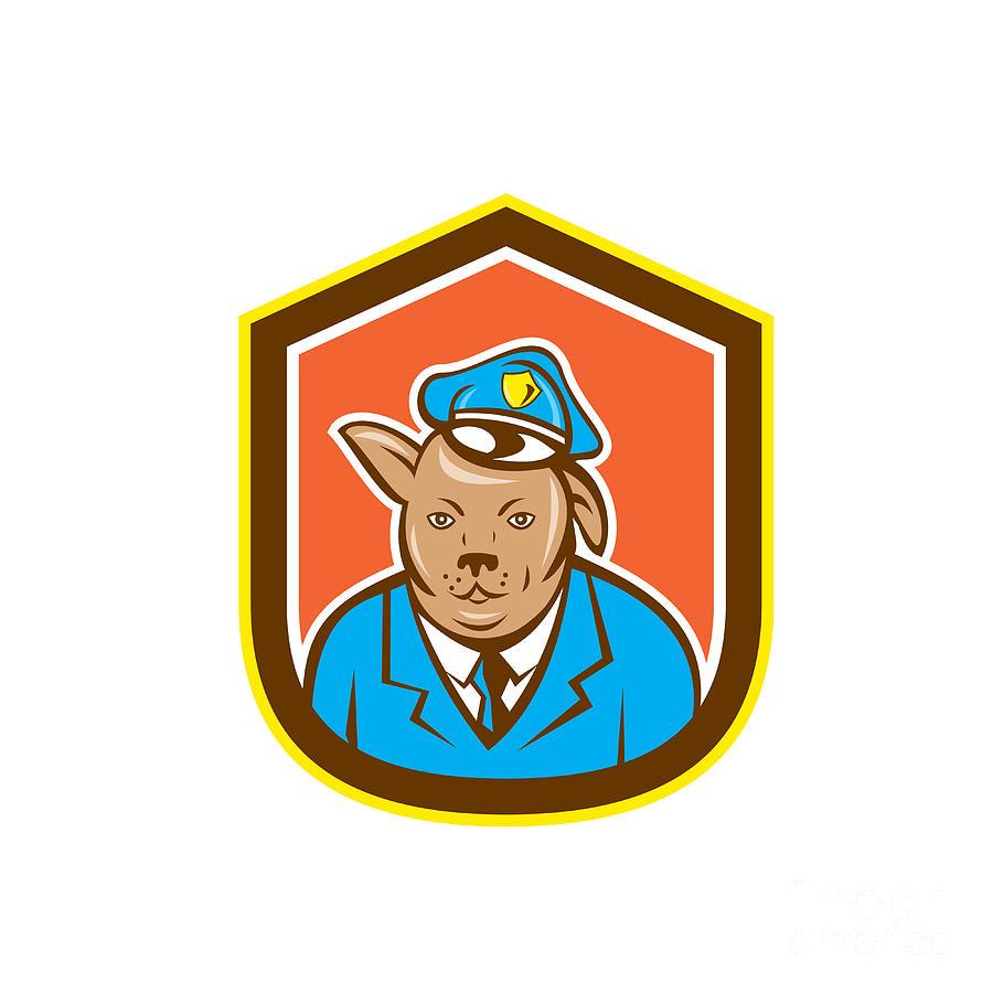 Police Dog Digital Art - Police Dog Canine Shield Cartoon by Aloysius Patrimonio