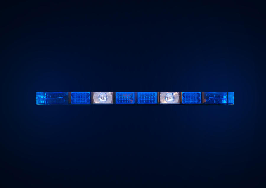 Ambulance Photograph - Police Emergency Lights With Blue Surrounding Light by Fizzy Image