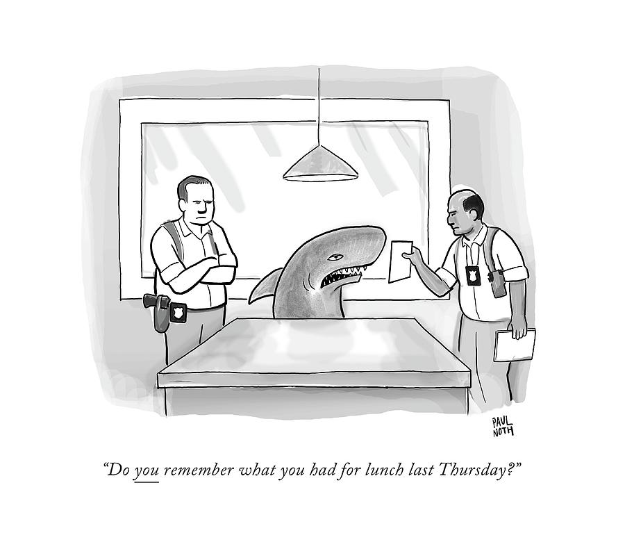 Police Investigators Hold An Image In Front Drawing by Paul Noth