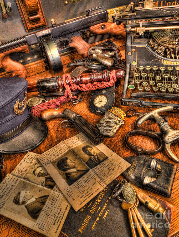 Police Photograph - Police Officer - The Detectives Desk  by Lee Dos Santos