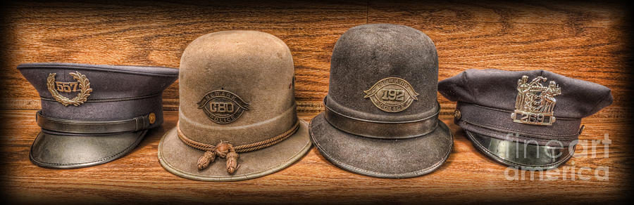 Police Photograph - Police Officer - Vintage Police Hats by Lee Dos Santos