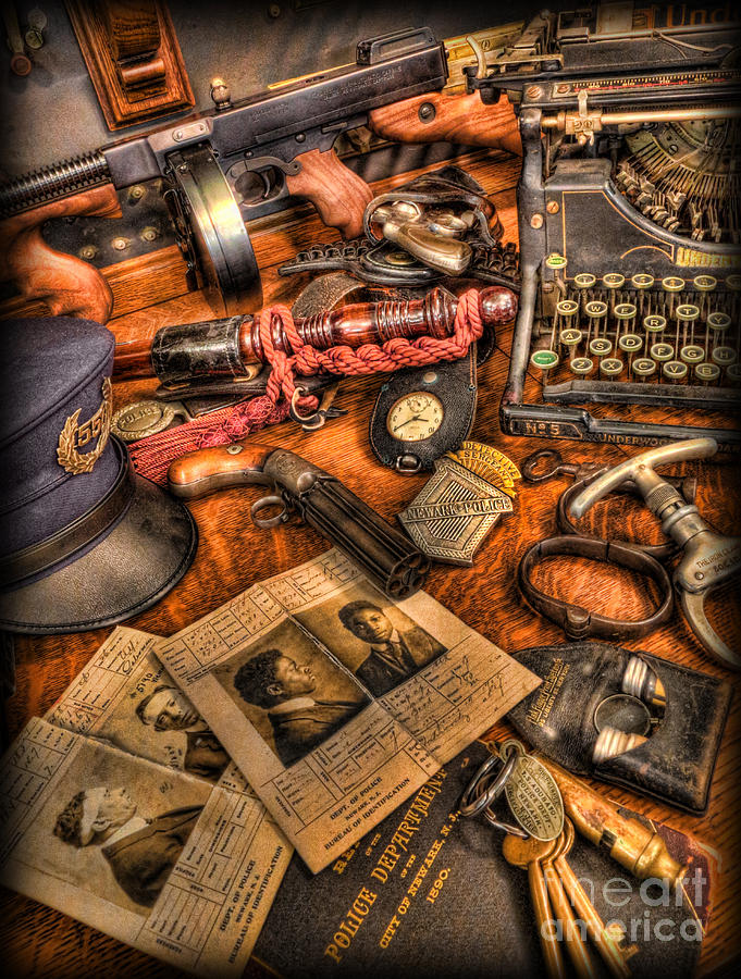 Police Photograph - Police Officer- The Detectives Desk II by Lee Dos Santos