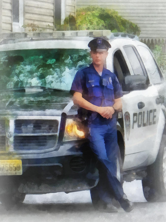 Police Photograph - Police - Policeman By Patrol Car by Susan Savad