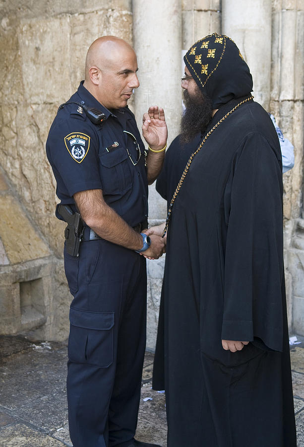 Belief Photograph - Policeman And Priest by Kobby Dagan
