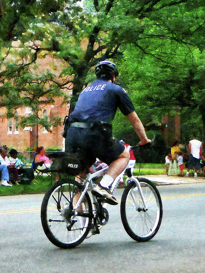 Police Photograph - Policeman - Police Bicycle Patrol by Susan Savad