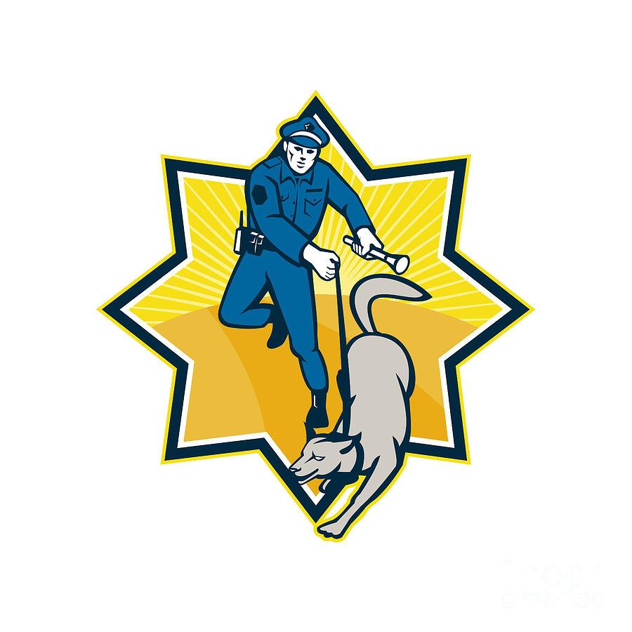 Policeman Digital Art - Policeman Police Dog Canine Team by Aloysius Patrimonio