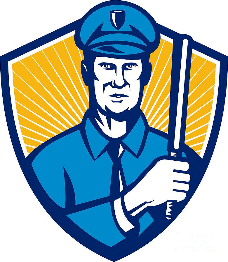 Illustration Digital Art - Policeman Police Officer Baton Shield Retro by Aloysius Patrimonio