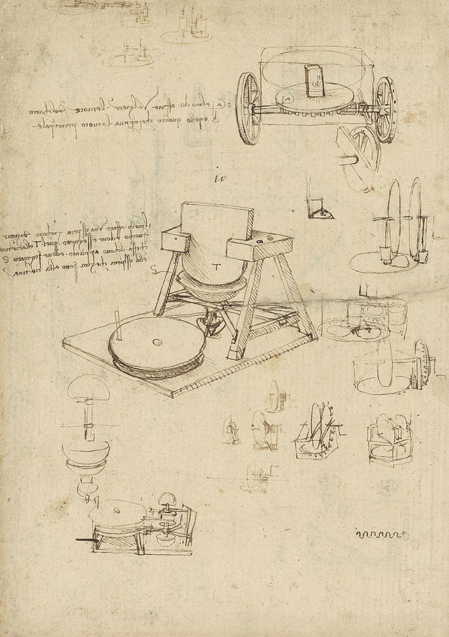 Leonardo Drawing - Polishing Machine Formed By Two Wheeled Carriage From Atlantic Codex by Leonardo Da Vinci