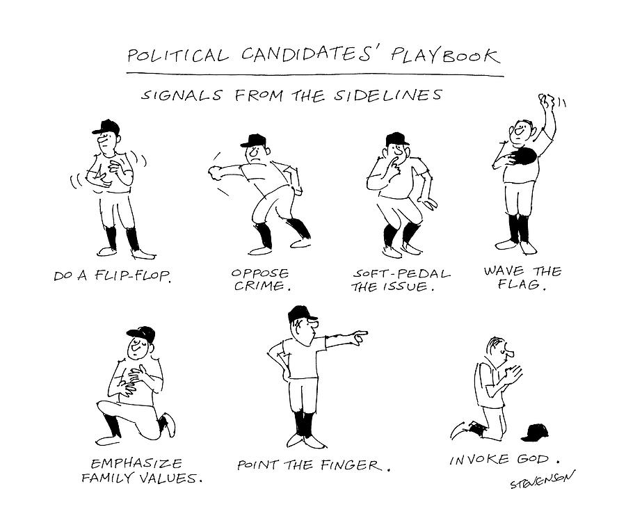 Political Candidates Playbook Signals Drawing by James Stevenson