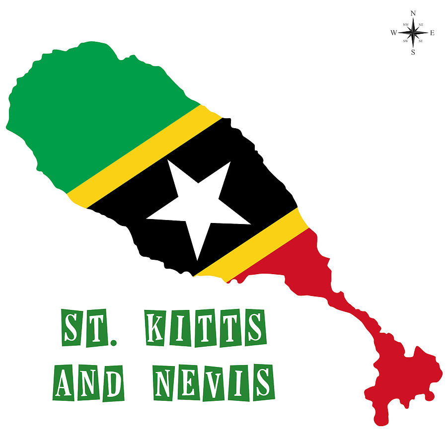 Political Map Of St Kitts And Nevis Painting by Celestial Images