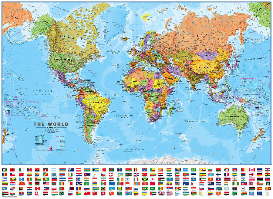Political world map with flags digital art by maps international world map digital art political world map with flags by maps international gumiabroncs Image collections