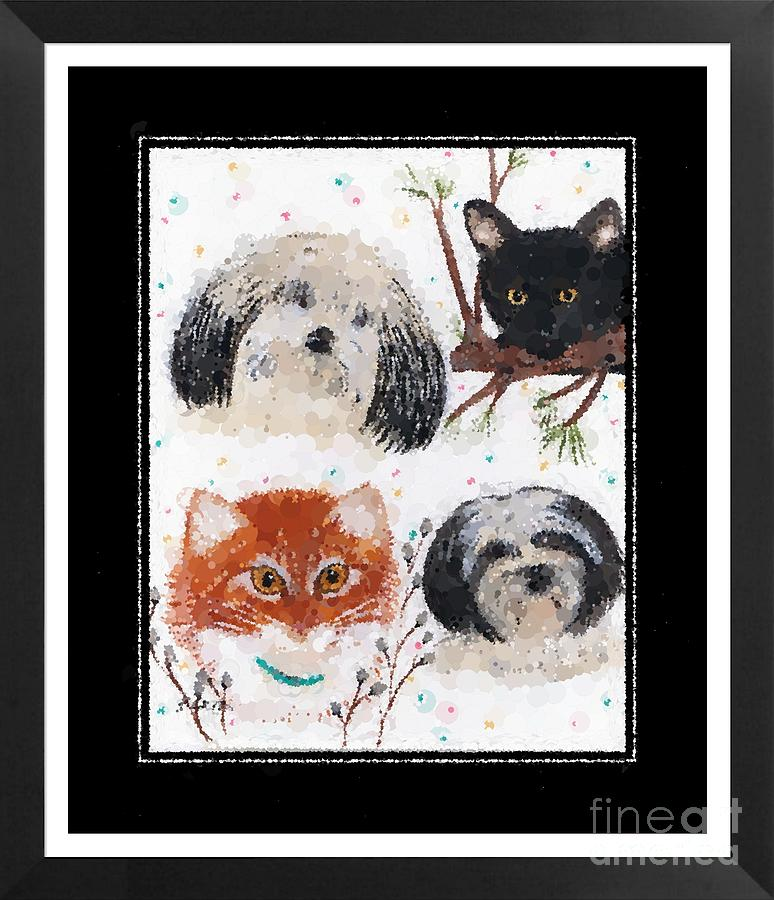 Cats And Dogs Photograph - Polka Dot Family Pets With Borders - Whimsical Art by Barbara Griffin