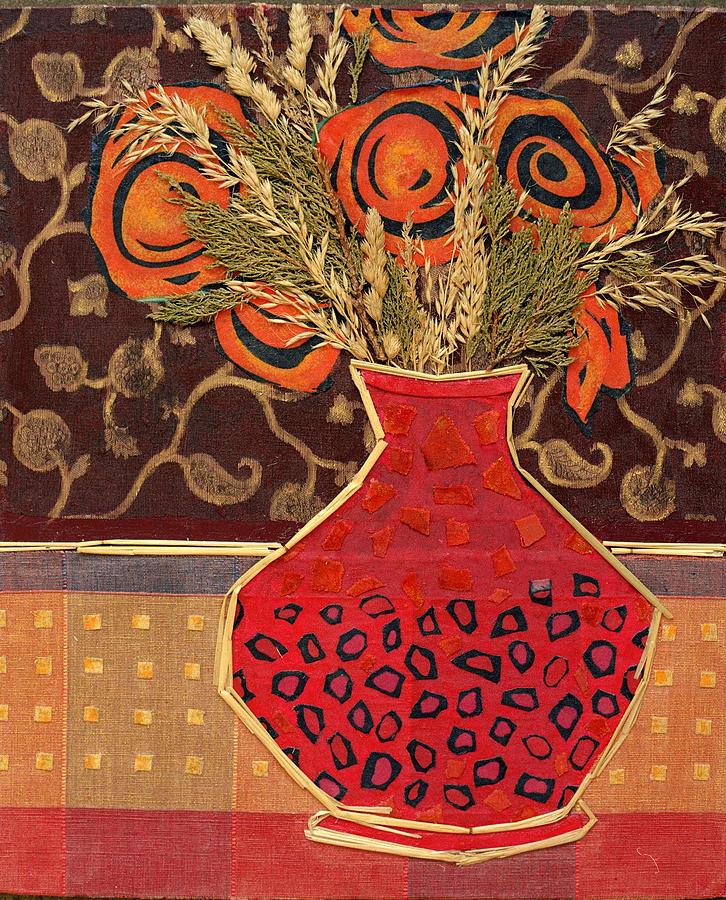 Flowers In A Vase Mixed Media - Polka Dot Vase by Diane Fine