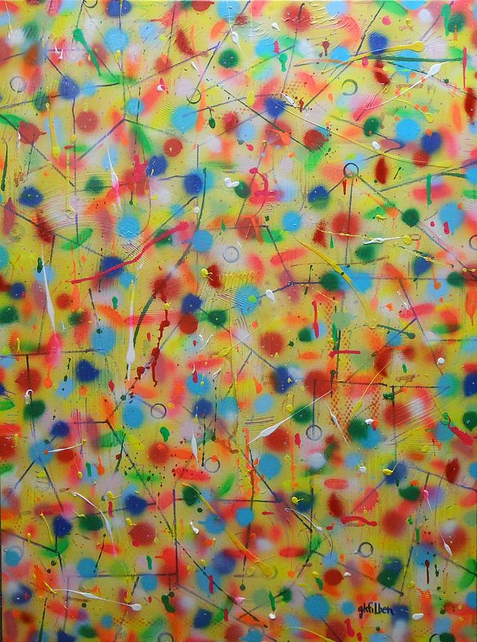 polka dotted confetti blast painting by gh filben
