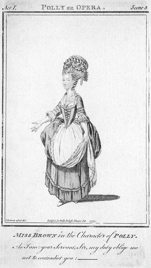 Music Drawing - polly By John Gay - Miss Brown by Mary Evans Picture Library