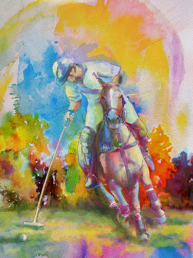 Sports Painting - Polo Art by Catf