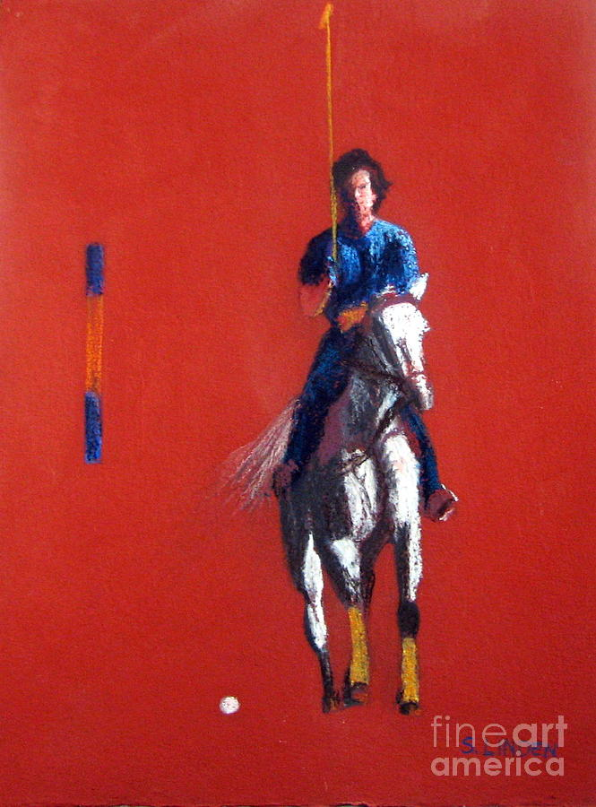 Portraits - Sports -man And Horse - Polo Player Painting - Polo Player by Sandy Linden