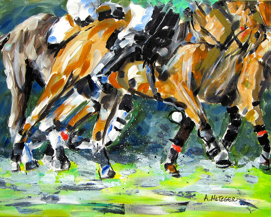 Polo Painting - Polo Thunder by Alan Metzger