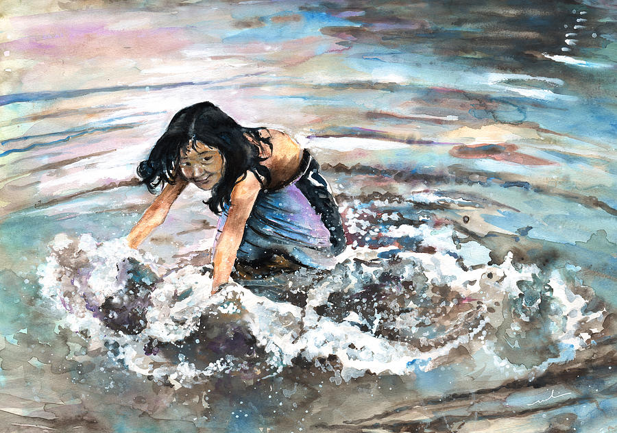 Travel Painting - Polynesian Child Playing With Water by Miki De Goodaboom
