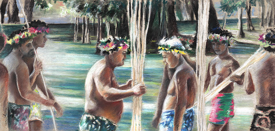 Travel Painting - Polynesian Men With Spears by Miki De Goodaboom