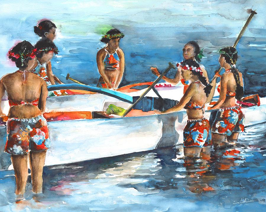 Travel Painting - Polynesian Vahines Around Canoe by Miki De Goodaboom