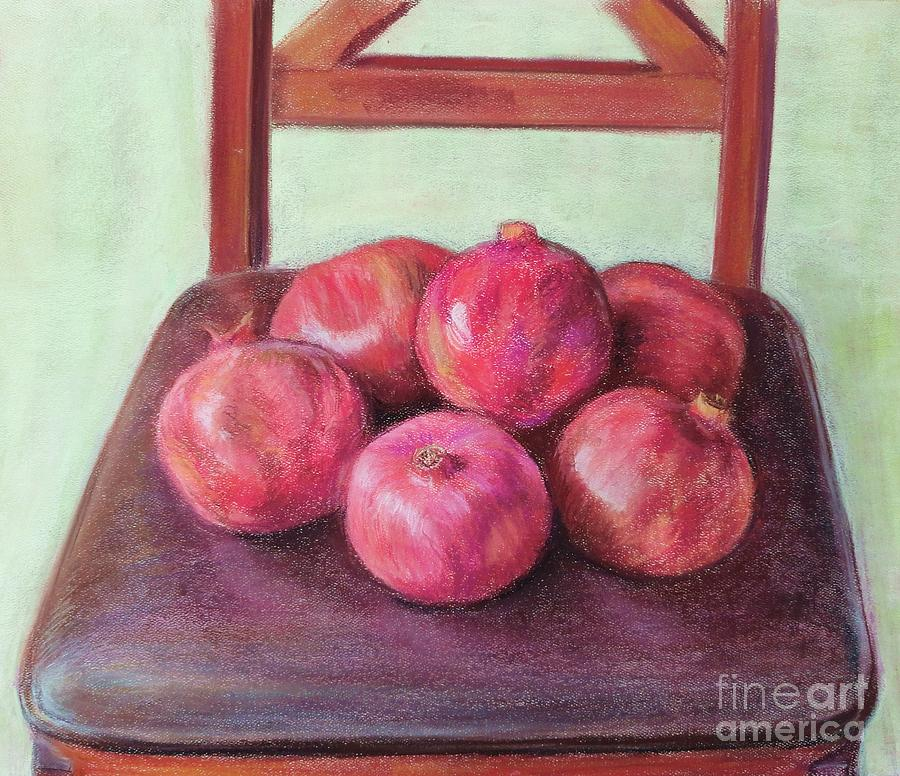 Pomegranates Painting - Pomegranates on a chair by Ziba Bastani