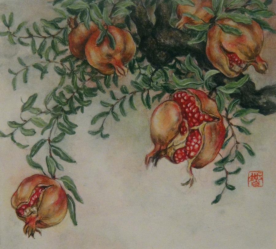 Japanese Painting - Pomegranates by Tomoko Koyama