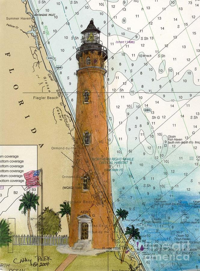 Ponce Inlet Lighthouse Fl Nautical Chart Map Art Cathy Peek