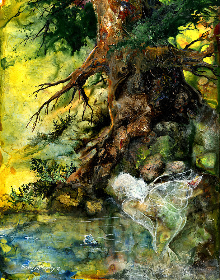 Fairy Painting - Pond Fairy by Sherry Shipley