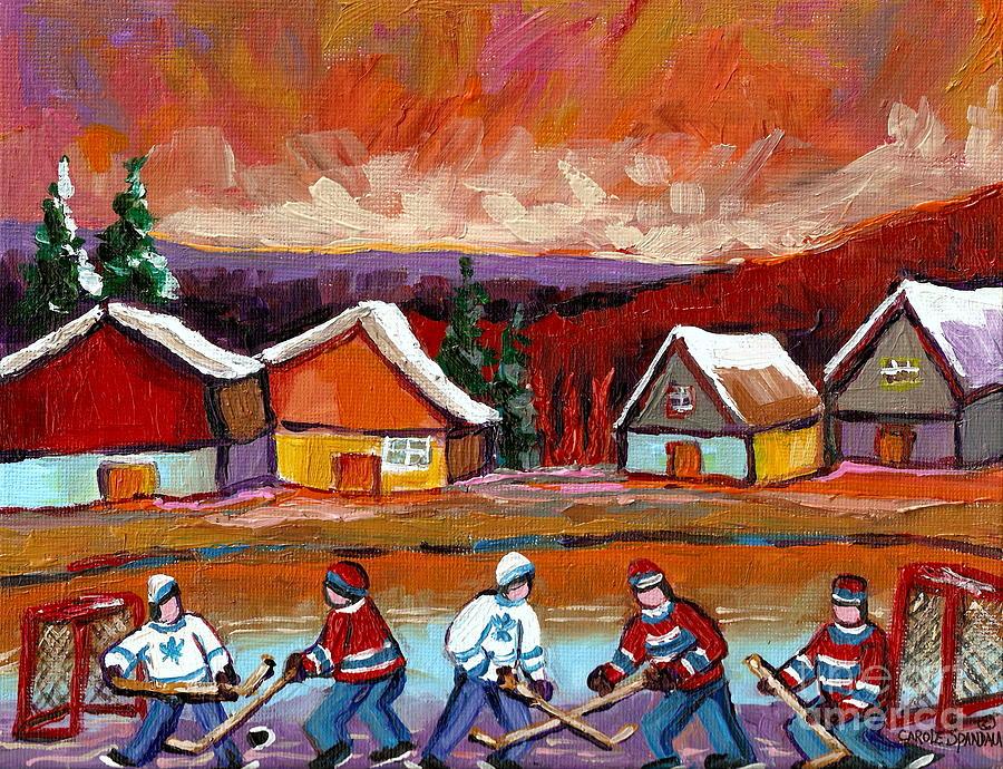 Pond Hockey Painting - Pond Hockey Game 2 by Carole Spandau
