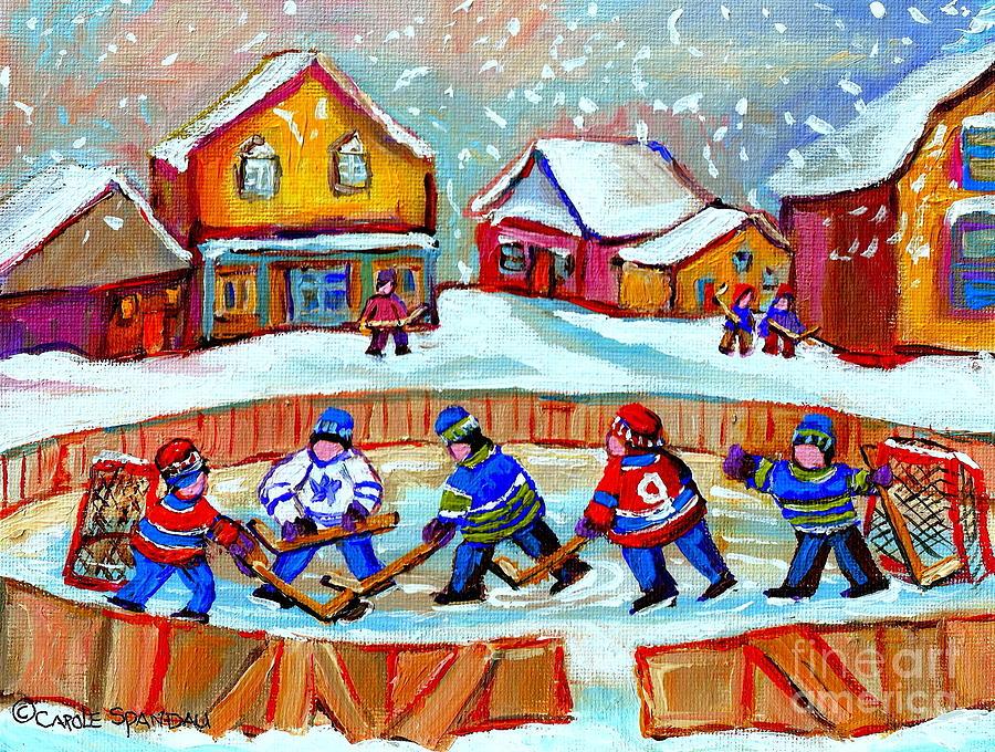 Pond Hockey Painting - Pond Hockey Game by Carole Spandau