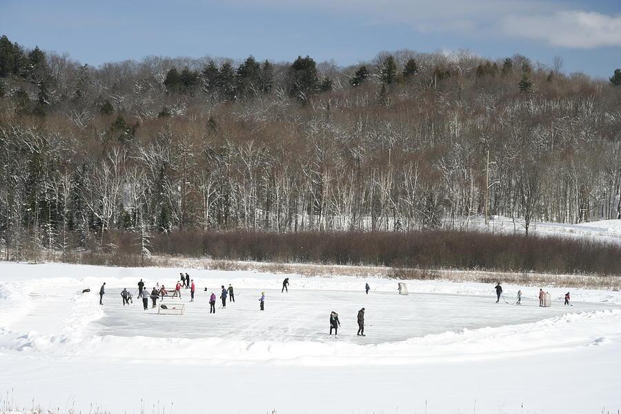 Hockey Photograph - Pond Hockey Muskoka by Carolyn Reinhart