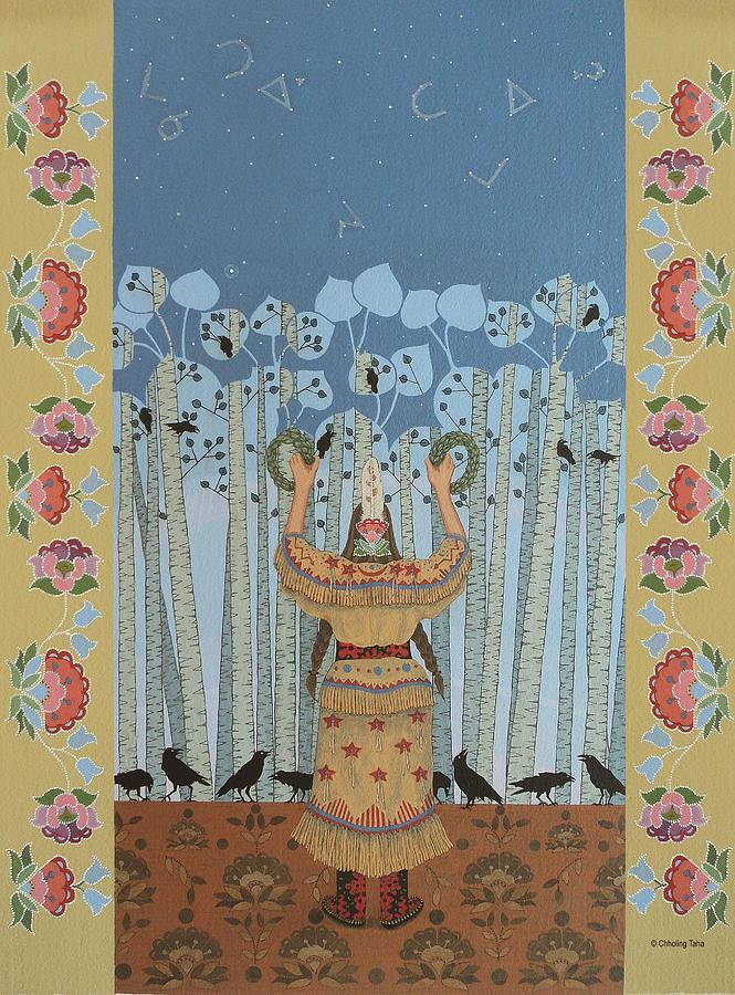 America Painting - Pondering Sacred Things - Manitoweyitamowin by Chholing Taha