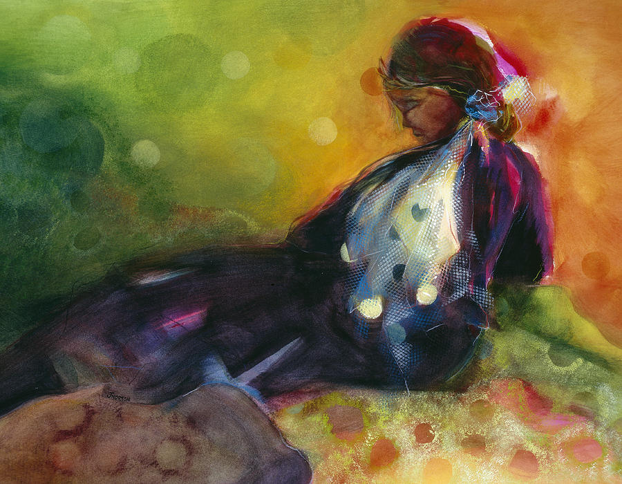 Secondary Colors Painting - Pondering the Cosmos by Jen Norton
