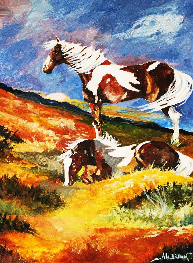 Ponies at Sunset by Al Brown