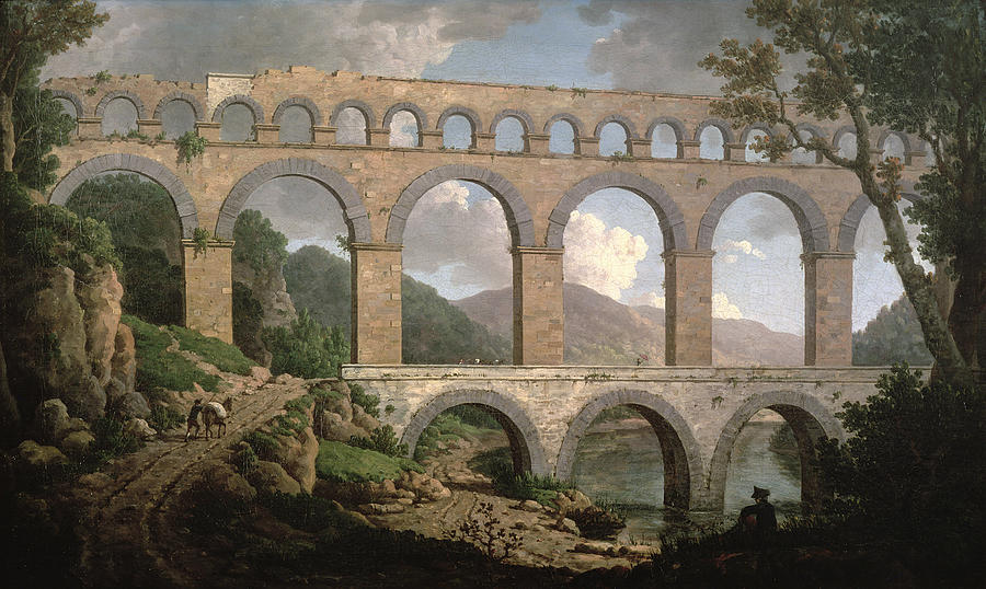 Aqueduct Painting - Pont Du Gard, Nimes by William Marlow
