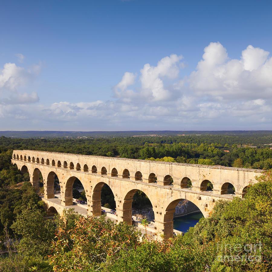 Antiquity Photograph - Pont Du Gard Roman Aqueduct Languedoc Roussillon France by Colin and Linda McKie
