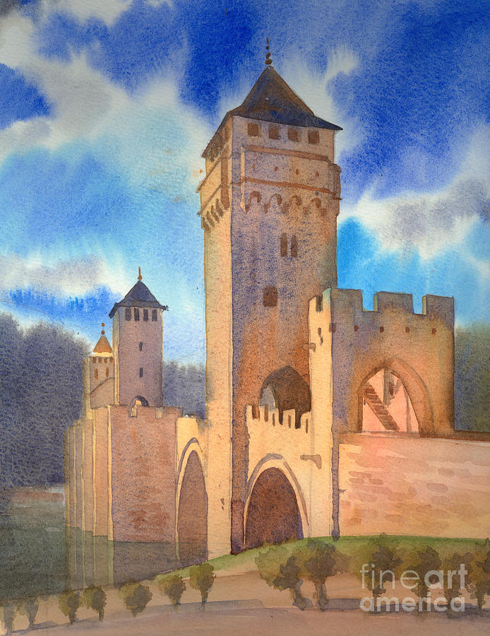 Cahors Painting - Pont Volontre Cahors France by Katia Weyher
