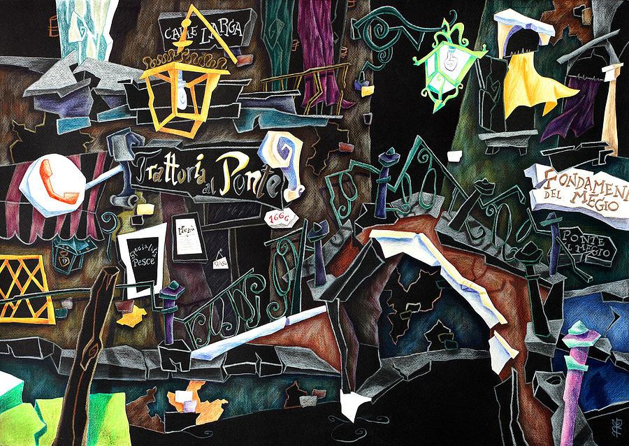 Venice Painting - Ponte Del Megio - Venice Fine Art Collage  by Arte Venezia