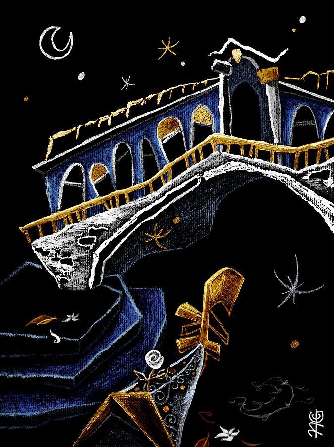 Rialto Drawing - Ponte Di Rialto - Grand Canal Venise Gondola Illustration by Arte Venezia