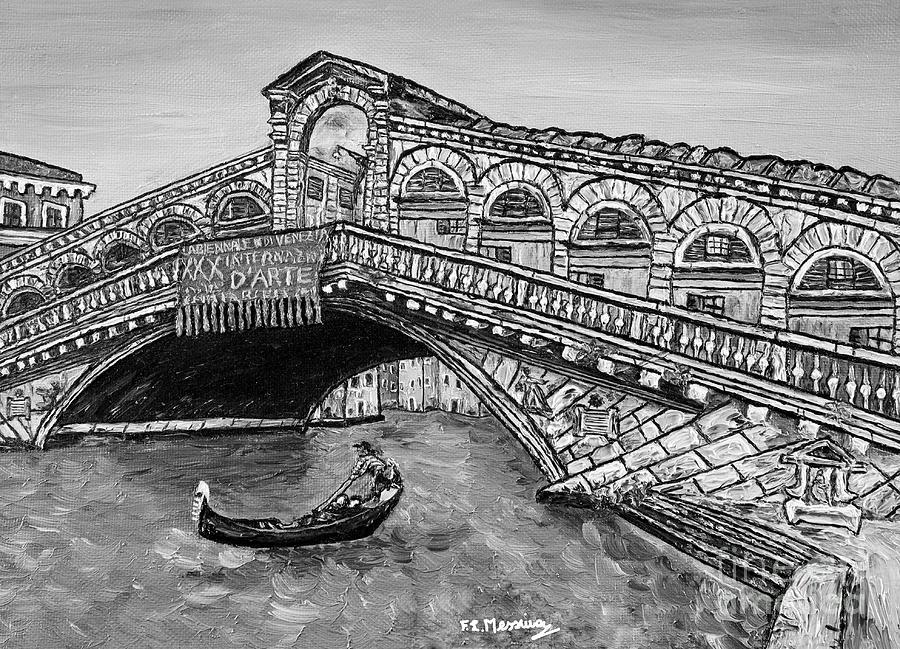 Black And White Painting - Ponte Di Rialto by Loredana Messina