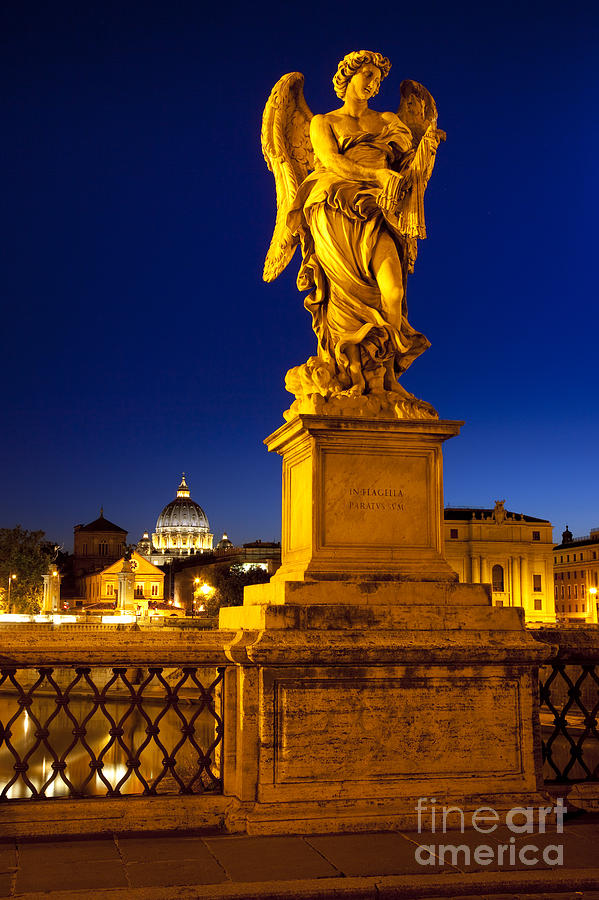 Angel Statue Photograph - Ponte Sant Angelo by Brian Jannsen