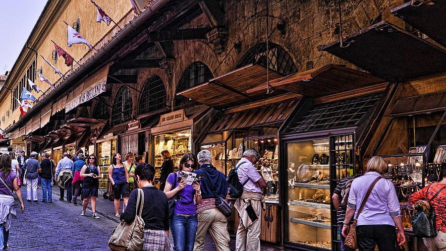 Ponte Vecchio Photograph - Ponte Vecchio Merchants - Florence by Jon Berghoff